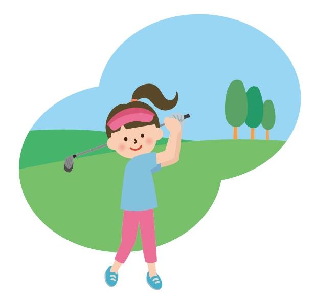 ゴルフを楽しむお姉さん