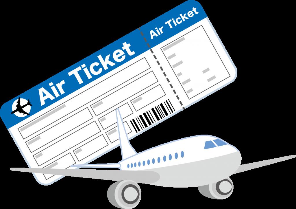 飛行機と空港チケット