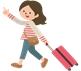 スーツケースを運ぶお姉さん
