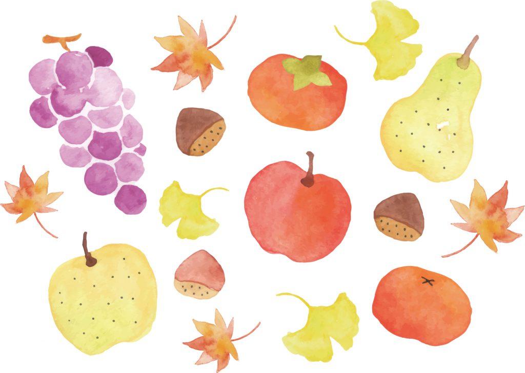 銀杏の葉と美味しそうな秋の味覚